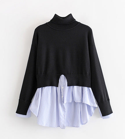 Naomi Turtle Neck Patchwork Top