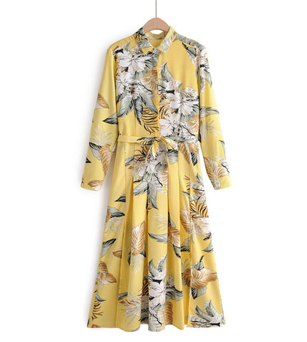 Kayla Floral Print Button Down Dress