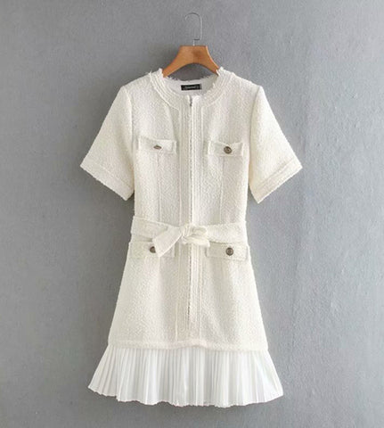 tweed white dress classic short sleeve above knee length short dress