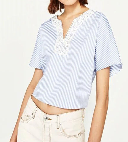 Ivy Lace Pinstripe Top