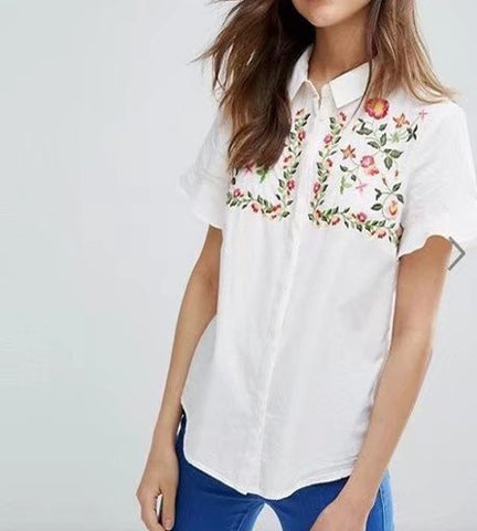 Daphne Embroidered Polo Top