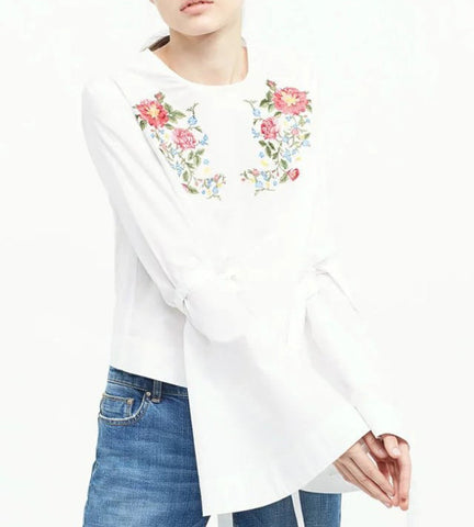 Gianna Embroidered Flare Top