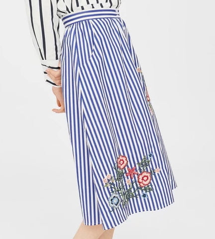 Bobbi Pinstripe Embroidered Skirt