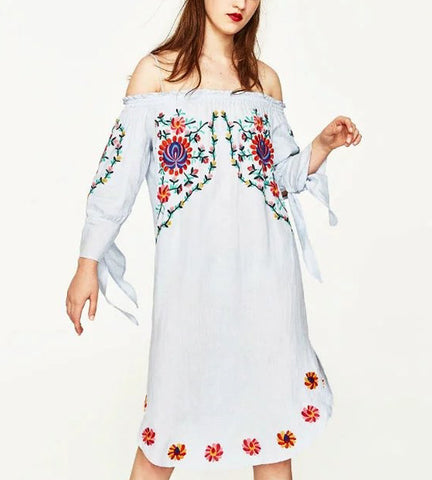 Amanda Embroidered Off Shoulder Dress