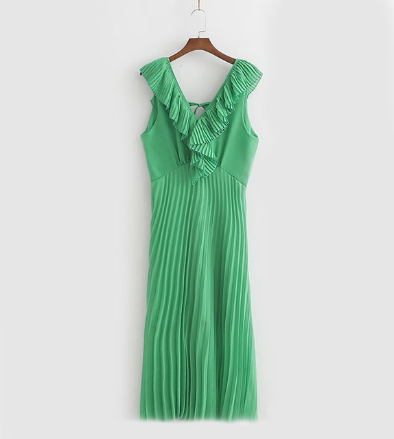 Zara like pleat ruffle dress sexy backless green holiday casual chiffon sleeveless