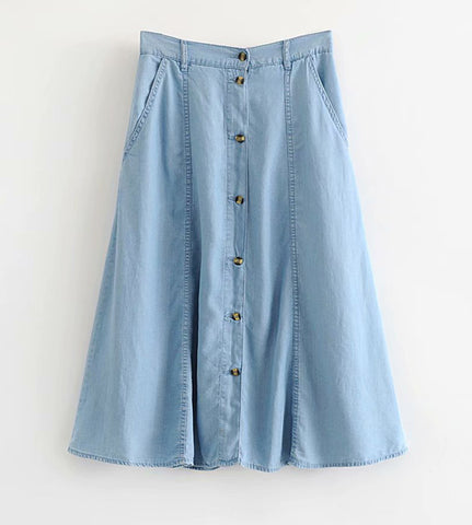 Thea Button Down Denim Skirt