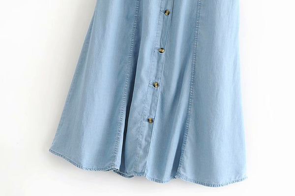 Button Down Denim Skirt Gartered Outfit IDEAS FASHION CLOTHING