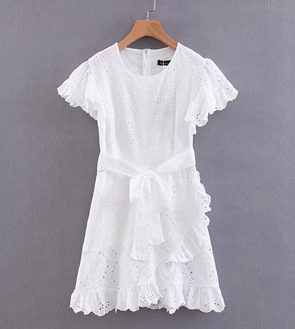 Jasmine Eyelet Ruffle Dress