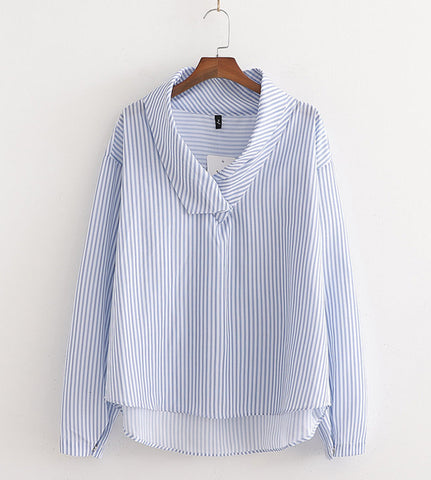 Elle Collar Pinstripe Top