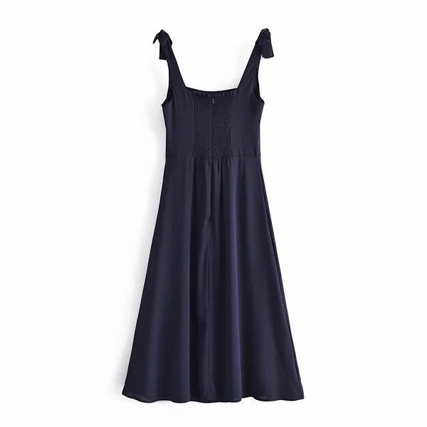 Tie Knot Shoulder Strap Chiffon Cocktail dress Long Maxi dress casual summer wear Sleeveless Side Slit Sexy Navy Blue