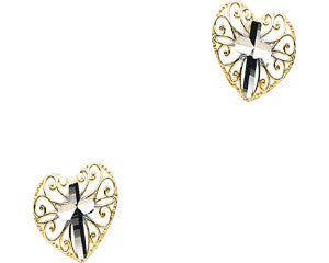 Two Tone Cross Heart Earring 14K Gold (Pair)