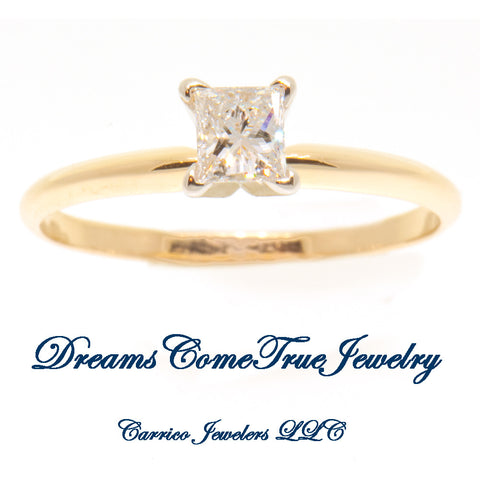 0.38 Carat Princess 14K Diamond Engagement Ring