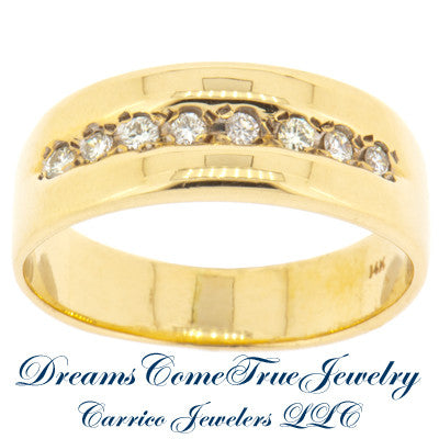0.24 CTW 8 Diamond 14K Yellow Gold Band