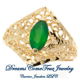 14K Gold Ladies Marquise Emerald Ring
