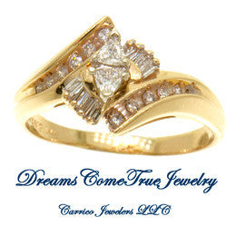 14K Gold 0.50 CTW Trillion Cut Ladies Diamond Ring