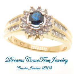10K Yellow Gold Ladies Sapphire with Diamond Accent Ring