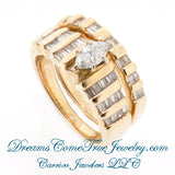 14K Gold 0.65 CTW Marquise Wedding Bridal Set