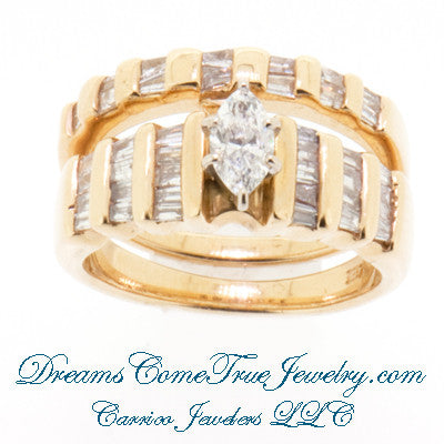 0.65 CTW Marquise 14K Gold Wedding Bridal Set