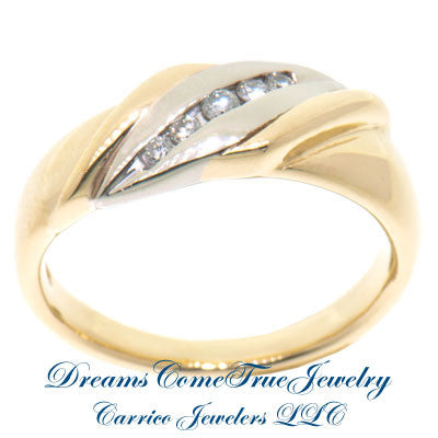 0.15 CTW 5 Diamond 10K Two Tone Gold Band