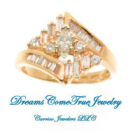 14K Gold Ladies Marquise Diamond Cluster Ring with 1.15 ctw