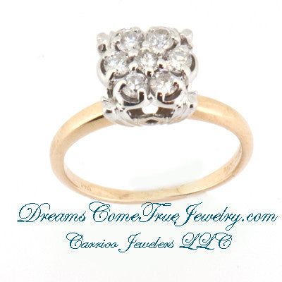 0.56 CTW Ladies 7 Diamond Cluster Ring in 14K Gold