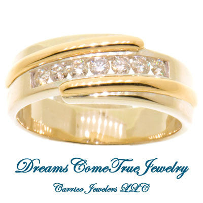 1.00 CTW 7 Diamond 14K Two Tone Men's Band