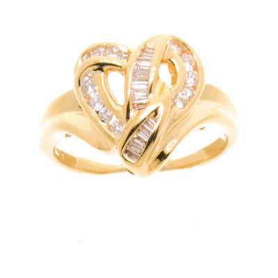 14K Gold Ladies 26 Diamond Heart Shaped Ring