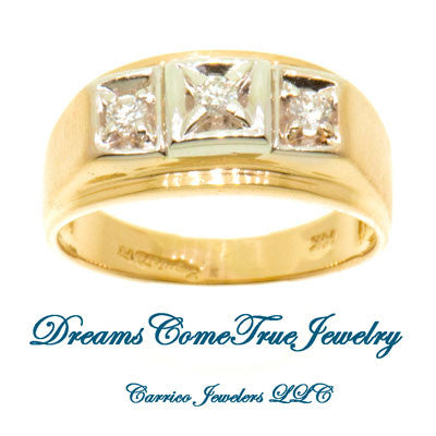 14K Yellow Gold 0.33 Men's 3 Diamond Ring