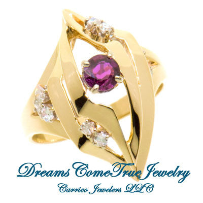 14K Gold Ladies Garnet and Diamond Designer Ring