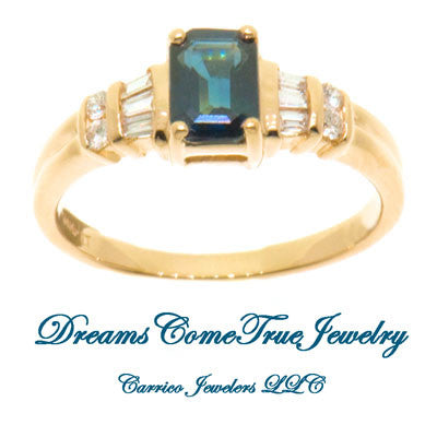14K Gold Ladies 1.00 Carat Emerald Cut Sapphire and Diamond Ring