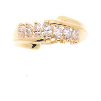 14K Gold Ladies Marquise Anniversary Ring