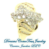 10K Yellow Gold Ladies 1 Ct Diamod Cluster Ring