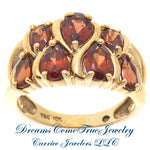 Garnet Ladies Cocktail Ring Pear Shaped 10K Yellow Gold
