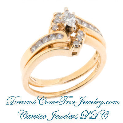 14K Gold 0.61 CTW Marquise Diamond Bridal Set