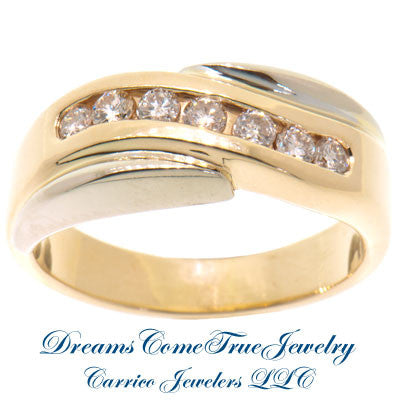 14K Two Tone 0.70 ctw 7 Diamond  Band