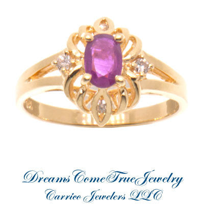 14K Gold Ladies 0.40 Ct Ruby and Diamond Cocktail Ring