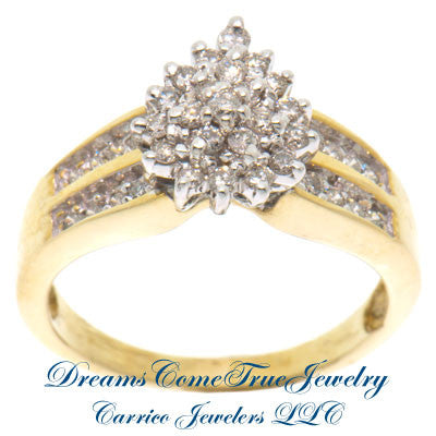 0.75 CTW Ladies Pear Shaped Diamond Cluster Ring 10K Gold