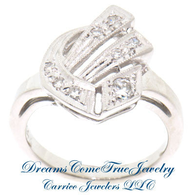 0.15 CTW Diamond Ladies Custom Vintage Initial 14K Gold Ring