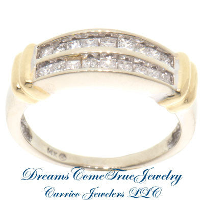 14K Two Tone Gold 0.72 ctw Ladies Diamond Cocktail Ring