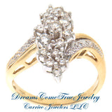 14K Gold 1.07 CTW Ladies Diamond Cluster Cocktail Ring