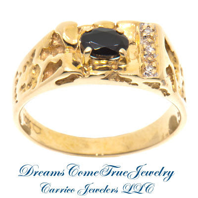 0.03 CTW 3 Diamond Gold Nugget Onyx 10K Gold Ring
