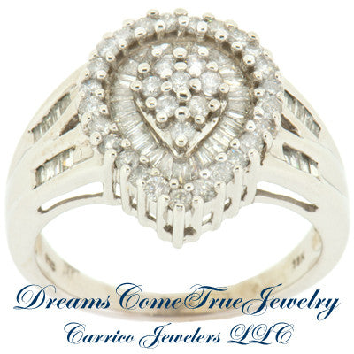 0.45 CTW Ladies Diamond Cluster / Cocktail Ring 10K White Gold