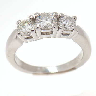 1.00 CTTW 950 Platinum Past Present Future Diamond ring