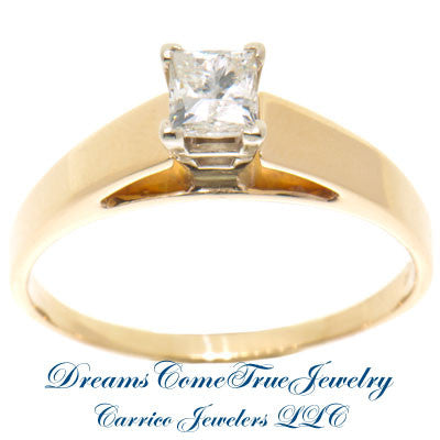 0.61 Carat Princess Diamond 14K Yellow Gold Engagement Ring