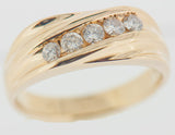 14K Gold 1.00 CTW Mens 5 Diamond Ring