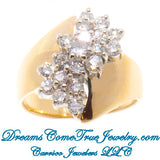 1.35 CTW Ladies Diamond Cluster Cocktail 14K Yellow Gold Ring