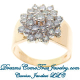 2.10 CTW Ladies Diamond Cluster / Cocktail 14K Yellow Gold Ring