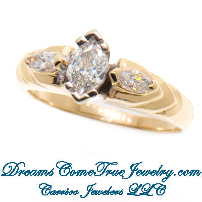 0.50 ctw 3 Diamond Past Present Forever Marquise Diamond Ring