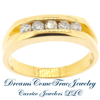 0.50 CTW Unisex 5 Diamond Band 14K Yellow Gold