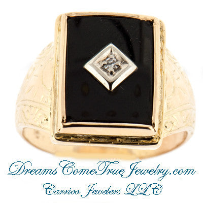 0.03 Ct Vintage Mens Hand Engraved Onyx and Diamond Ring